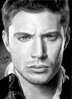 Jensen Ackles as Dean Winchester from Supernatural. Supernatural Fans, Supernatural Drawings, Castiel, Graphite Drawings, Cool Drawings, Hottest Guy Ever, Fanart, Beautiful Posters, Jensen Ackles