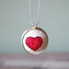 Handmade Heart Necklace in Sterling Silver with Hand Embroidery Embroidery  Hearts 85bf8a25e