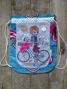 Sac à dos pour chaussure turquoise et rose, sac à vêtements - fait de tissus recyclés par JacquardVichy sur Etsy Couture, Drawstring Backpack, Diaper Bag, Creations, Turquoise, Backpacks, Rose, Scrap Fabric, Fabrics