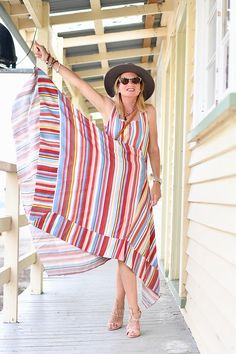 Stripes Taking a Turn for Summer 2019 - FunkyForty Dressy Skirts, Spring Summer 2018, Cool Style, Girl Fashion, Cover Up, Take That, Blue And White, Stripes, Summer Dresses