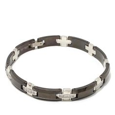 "0.5ctw Diamond-Accented Stainless Steel and Tungsten Men's 2-Tone Cross-Design 8-1/2"" Bracelet"
