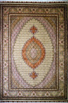 Tabriz Wool Persian Rug | Exclusive collection of rugs and tableau rugs - Treasure Gallery Tabriz Wool Persian Rug You pay: $2,500.00 Retail Price: $6,900.00 You Save: 64% ($4,400.00) Item#: 6 Category: Small(3x5-5x8) Persian Rugs Design: Fish(Mahi) Size: 195 x 150 (cm)      6' 4 x 4' 11 (ft) Origin: Persian, Tabriz Foundation: Wool Material: Wool & Silk Weave: 100% Hand Woven Age: Brand New KPSI: 400