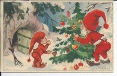 Lucie Lundberg Julkort Småkort Tomte o nisse klär gran NK 6387 pg 1944 Vintage Christmas Cards, Christmas Greeting Cards, Christmas Greetings, Vintage Cards, Swedish Christmas, Christmas Fairy, Winter Christmas, Xmas, Fairy Land