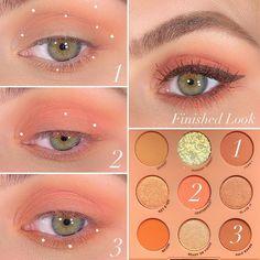 Baby Got Peach Eyeshadow Palette crease and transition area also lower lash line Lid Baked- Lower lash line BFF Liquid Liner Grande & Creme Gel Liner Mr. Peachy Eyeshadow, Colourpop Eyeshadow, Eyeshadow Makeup, Eyeshadow Palette, Soft Eye Makeup, Korean Eye Makeup, Asian Makeup, Makeup Geek, Beauty Makeup