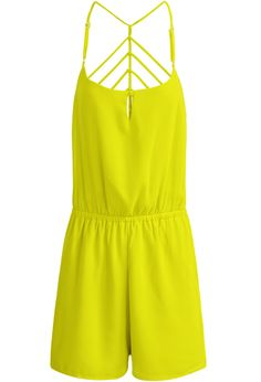 Yellow Spaghetti Strap Backless Chiffon Jumpsuit - Sheinside.com