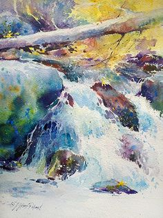 South Yuba River by Julie Gilbert Pollard, Watercolor 14 x 11 Art Aquarelle, Watercolor Water, Watercolor Landscape, Landscape Paintings, Painting & Drawing, Watercolor Paintings, Watercolors, Pour Painting, Waterfall Paintings