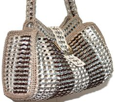 -Pamela Pop Tab Satchel Crochet Purse Brown and by PopTopFashion