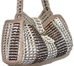 Crochet tab purse
