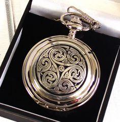 Celtic Triple Swirl Pocket Watch by PinkCatShop Fine Watches, Watches For Men, Ladies Watches, Luxury Watches, Quartz, Jewels, Pendant, Pocket Watches, Silver