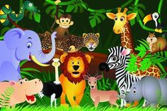 Choose Animals in the jungle Wall Mural to create a fantastic wall decor in your room or browse thousands of other wall murals and custom wall murals only at Eazywallz.com Kids Room Murals, Murals For Kids, Kids Room Paint, Kids Rooms, Cartoon Jungle Animals, Safari Animals, Forest Animals, Tier Wallpaper, Animal Wallpaper