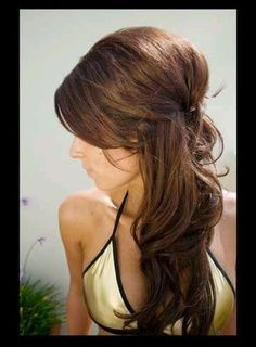 Great way to wear your hair half up and half down.