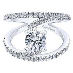 14k White Gold Diamond French Pave Split Shank Renewal Engagement Ring angle 1