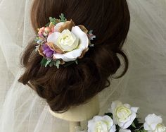 Wedding hair accessories pink flower wedding hair by HollyHoopsArt