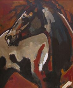 SOLD Peggy Judy Andalusian Stallion 18 x 24 Acrylic on board