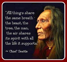 """""""All things share the same breath - the beast, the tree, the man. The air shares its spirit with all the life it supports."""" ― Chief Seattle"""