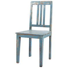 Sedia blu tenue in mango effetto anticato