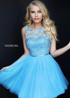 Sherri Hill 11045 - Turquoise Beaded Tulle Short Homecoming Dress