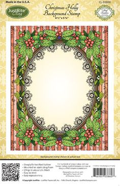 Christmas Holly Background Stamp