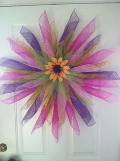 SPRING SUNFLOWER HANDMADE GEO MESH DOOR WREATH PINK PURPLE GREEN 30-32""