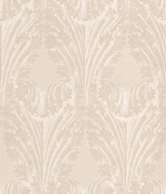 Accademia (W6177/01) - Osborne & Little Wallpapers - A pretty leaf design incorporating a wave effect showing in stone and white. Other colour ways available. Please request a sample for true colour match.
