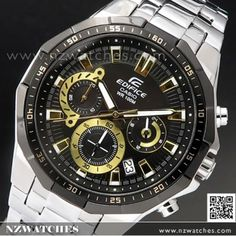 Casio Edifice, Sport Watches, Watches For Men, 100m, Red Accents, Metal Bracelets, Casio Watch, Rolex Watches, Black Gold