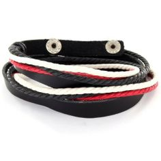 Black Leather Double Wrap Bracelet with Red Black and White Knots West Coast Jewelry. $9.95. Save 45%!