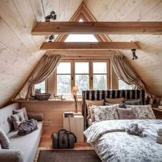 The Best 50 Log Cabin Interior Design Ideas they are carefully selected and cut in the build order in which they will be laid down to form the home. A Frame Cabin, A Frame House, Attic Bedrooms, Bedroom Loft, Log Cabin Bedrooms, Log Cabin Interiors, Master Suite Bedroom, Queen Bedroom, White Bedroom