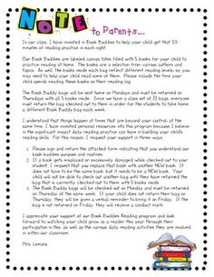 Take Home bag resources    Book buddies letter to parents and other printables...