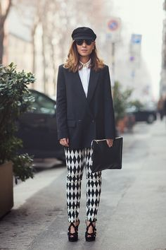 Julia in Milan with her checkered future in those pants of hers.