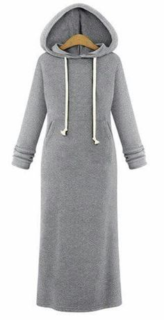 Hooded Pullover Maxi Sweatshirt Dress I'm making this Abaya Fashion, Modest Fashion, Fashion Outfits, Fall Fashion, Sweatshirt Outfit, Sweatshirt Dress, Winter Dresses, Winter Outfits, Dress Winter