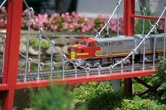 Visit The Train Lady's Train Garden Masterpiece - 365Barrington ... Garden Bridge, Garden Train, Garden Railroad, N Scale Trains, Train System, Urban Homesteading, Unique Gardens, Christmas Villages, Urban Farming