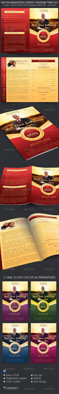 Church Anniversary Program Cover Template  Pastor Anniversary