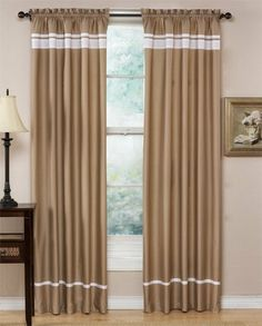 Spa Collection Curtains Taupe and White Stripe Set of 2 Window Panels Coverings Treatments by Sweet Jojo Designs. $42.99. Matching bedding is available.. These Spa Hotel Collection Window Treatments are 1.5 inch rod pocket panels.. Easy-care: Machine Washable, Hang to dry. Dimensions: 42 in x 84 in. These Window Treatments coordinate with Spa Collection Hotel Duvet Bedding Sets. Window treatments are the quickest, simplest and most affordable way to change the look ...