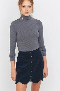 Urban Outfitters Scallop-Edge Navy Corduroy A-Line Skirt - Urban Outfitters