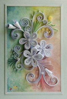 neli: white quilling on watercolor background
