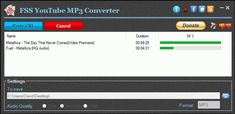FSS YouTube MP3 Converter is a free program that allows you to extract audio tracks from YouTube videos and YouTube playlists with the highest quality possible. #youtube #mp3 #youtubemp3 #fss Audio Track, Free Youtube, Playlists, Metallica, Videos