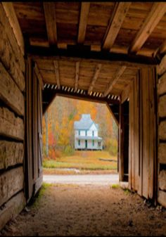 Old Farm House From The View Of The Barn Doors