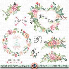 "Wedding ClipArt ""WEDDING FLORA"" clip art ,Floral Frames,Banner Floral,Laurel,Wreath,Rustic Wreaths,Wedding Flora,Wedding invitation Wf094 by SAClipArt on Etsy"