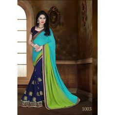 Designer Womaniya MultyColour Embroidery Georgette Saree with Blouse at just Rs.1575/- on www.vendorvilla.com. Cash on Delivery, Easy Returns, Lowest Price.