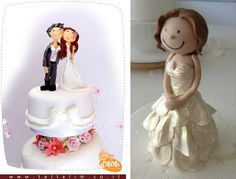 bride and groom cake topper by Tal Tsafrir left and bride cake topper by Sharon Wee Creations right Diy Cake Topper, Cake Topper Tutorial, Custom Cake Toppers, Bride And Groom Cake Toppers, Wedding Cake Toppers, Cartoon Wedding Cakes, Wedding Groom, Bride Groom, Lovely Tutorials