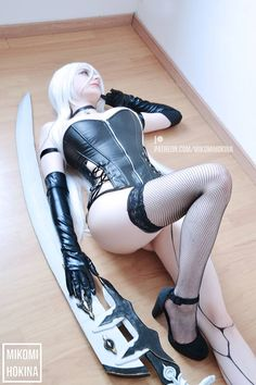 A2 from Nier Automata by Mikomi Hokina @ facebook.com/MikomiHokina - More at https://pinterest.com/supergirlsart #mikomihokina #hot #sexy #cosplay #girl #cosplaygirl #nierautomata #boudoir