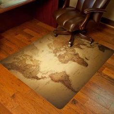 Wooden chair mat pinterest chair mats wood flooring and desks es robbins design world map print 36 in x 48 in hardfloor vinyl chair mat 118703 at the home depot mobile gumiabroncs Images