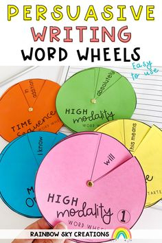 Create confident writers with these easy to use persuasive writing word wheels. Ideal for language support and vocabulary instruction. Great as an individual resource or enlarge them to use them as an interactive display in your classroom.