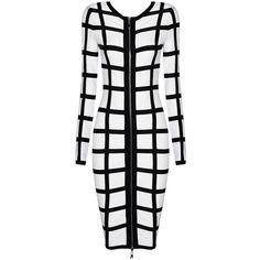 Posh Girl Black & White Long Sleeve Bandage Dress (3,135 MXN) ❤ liked on Polyvore featuring dresses, multi, zipper back dress, black white dress, black and white dress, white and black long sleeve dress and white black dress