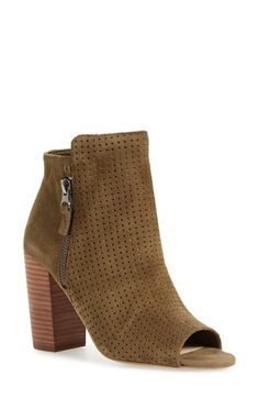 Free shipping and returns on Jessica Simpson 'Keris' Open Toe Bootie (Women) at Nordstrom.com. Tiny laser perforations extend from the open toe to the asymmetrical topline of a smart suede bootie held aloft by a chunky stacked heel.