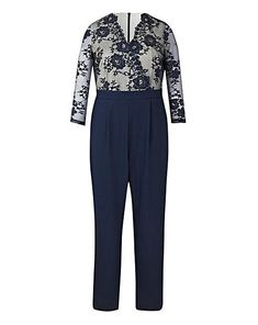 302c13b08ef Little Mistress Lace Wrap Jumpsuit Navy Blue Ladies UK Size 26 Box45 72 S   fashion