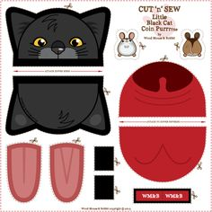 Bubble_Gum_Tabby_Coin_Purrse fabric by woodmouse Fabric Crafts, Sewing Crafts, Sewing Projects, Cat Crafts, Diy Arts And Crafts, Sewing Tutorials, Sewing Patterns, Pencil Bags, Coin Purse Tutorial