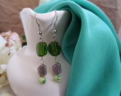 Handmade Green & Silver Floral Dangle $8 #etsy #fashion #jewelry