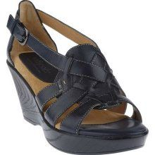 Softspots Multi-Strap Wedge Sandal w/ Adj. Buckle - Navy - 7 Medium