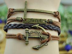 Anchor cuff leather bracelet  Bronze by DavidBracelets on Etsy, $5.50